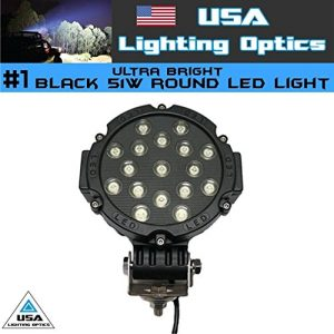 """Distressed Packing contents are perfect shape 51w High output led spot light Black frame with Black housing Toughened Glass Lens Industries Brightest Designed for Extreme Conditions Spot Beam: 30 degree 50000 hours above life time Dimensions: 7""""x3.5"""" (18x9cm.) Mounting bracket 1"""" tall - 1"""