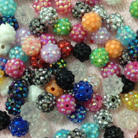 10pc 12mm Assorted Resin Rhinestone Bead Round Basketball Wives Beads Bracele... Quantity: 10 Pieces Resin Rhinestone Beads