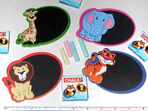 Chalkboard Magnets - Assorted Zoo / Jungle Animal themes. Each Mini CHALKBOARD Set includes one chalkboard and an illustrated box with four pieces of chalk. Chalkboard: 4 3/4 inch wide x 3 1/2 inch high. Has an attached magnet on back of chalkboard. Chalk: 4 pieces per set - approximately 1 3/4 inch long. Brand New - Individually Sealed Clear Polybags. - 2
