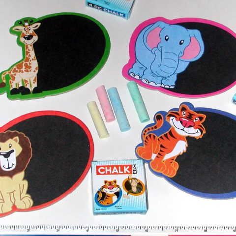 Chalkboard Magnets - Assorted Zoo / Jungle Animal themes. Each Mini CHALKBOARD Set includes one chalkboard and an illustrated box with four pieces of chalk. Chalkboard: 4 3/4 inch wide x 3 1/2 inch high. Has an attached magnet on back of chalkboard. Chalk: 4 pieces per set - approximately 1 3/4 inch long. Brand New - Individually Sealed Clear Polybags. - 1