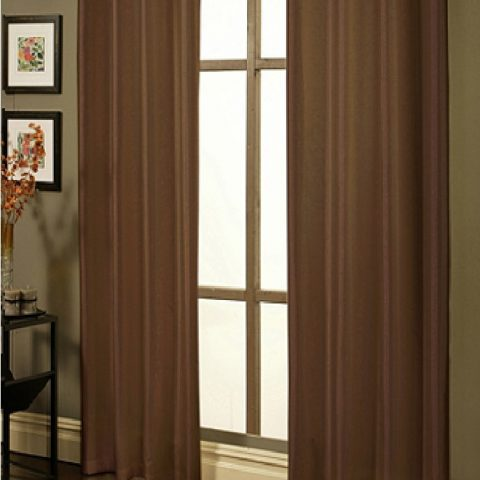 """Coffe Faux Silk Panel 95"""" Long 1 Purchase = 1 Faux Silk Panel Beautiful for any room in your home. - 1"""