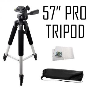 Professional 57-inch Tripod 3-way Panhead Tilt Motion with Built In Bubble Leveling for Sony DCR-SR15