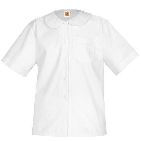 A+ Girls Adult Short Sleeve Peter Pan Collar School Uniform Blouse (YXXS (4-5)