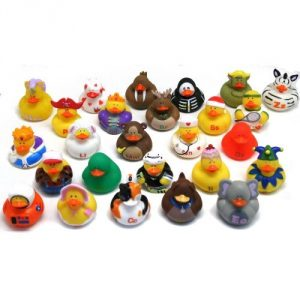 "Vinyl ABCs Rubber Duckies. Assorted styles. (26 pcs./unit) 2"" Duckies do not float upright. - 1"