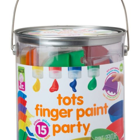 A big bucket of finger painting fun for toddlers Plastic painting tools act as brushes that add texture to your art Paint plates for mixing colors or just limiting the amount of paint being used Includes red