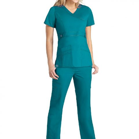 """Soft Twill Center back length 25 1/2"""" in size M Junior fit Crossover mock wrap top (TOP ONLY) Two roomy patch pockets with multi-section accessory pocket Front midriff with non-functional snap tabs with short set-in sleeves Tagless neck for comfort"""