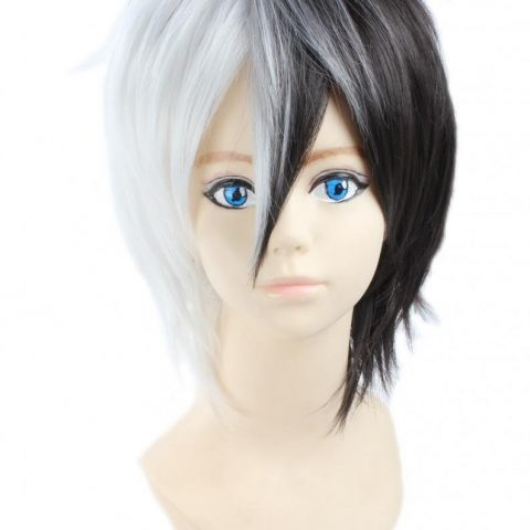 Packing: 1 wig + Wig Cap Color: Black White Material is heat resistant synthetic fiber which can be styled by heat tool.It is both natural looking and soft touch. You can wear it to parties as well as for daily use Head circumference is about 56cm