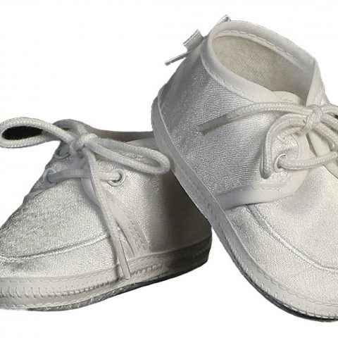 self tie closure Handsome satin oxford lace up baby boys shoes Classic simple style and design with embroidered piping highlighting top line of bootie Quality crafting for durability and polished style Perfect for any occasion! - 2