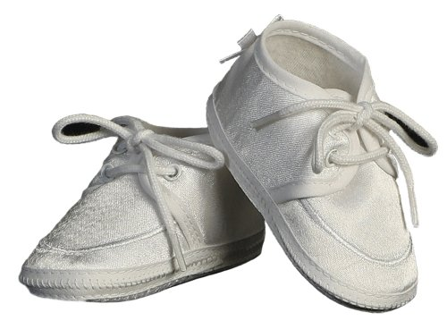 self tie closure Handsome satin oxford lace up baby boys shoes Classic simple style and design with embroidered piping highlighting top line of bootie Quality crafting for durability and polished style Perfect for any occasion! - 1
