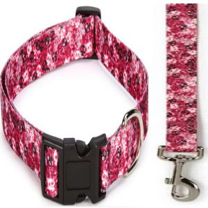 """Bundle includes adjustable Pink Casual Canine Bone Heads Dog Collar & Pink Casual Canine Bone Heads Dog Lead 4'L x 5/8""""W 2 Piece Set Bone Heads Dog Collar features a unique skull design and black plastic buckles with nickel plated D-ring Bone Heads Dog Lead features a unique skull design and nickel plated D-ring and quick release swivel clip 100% Polyester - 1"""