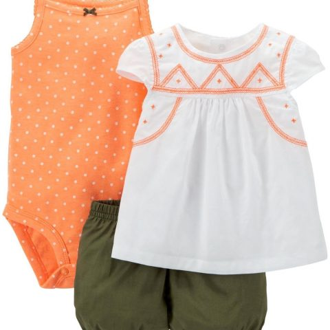 Top & shorts: 100% cotton jersey; bodysuit: 100% cotton rib Machine washable 3 pc S/S Set - 1