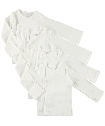 100% Cotton Side Snap Shirts In Newborn and 3 month -Cuff of wrist flaps over to form a mitt for no scratching - 2