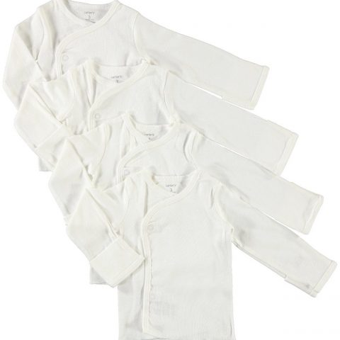 100% Cotton Side Snap Shirts In Newborn and 3 month -Cuff of wrist flaps over to form a mitt for no scratching - 1