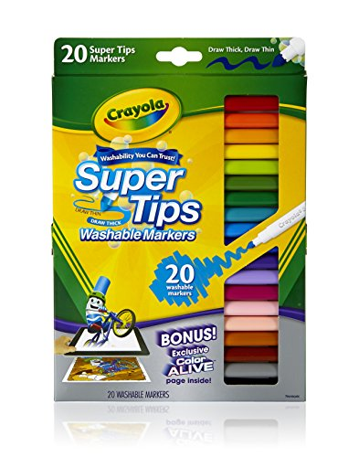 Set contains 20 different colors with 20 different scents for kids to enjoy while coloring Washable Super Tips Markers feature a versatile tip that draws both thick or thin lines Crayola's washable ink is specially formulated to easily wash from skin and most children's clothing Will not bleed through paper - 2
