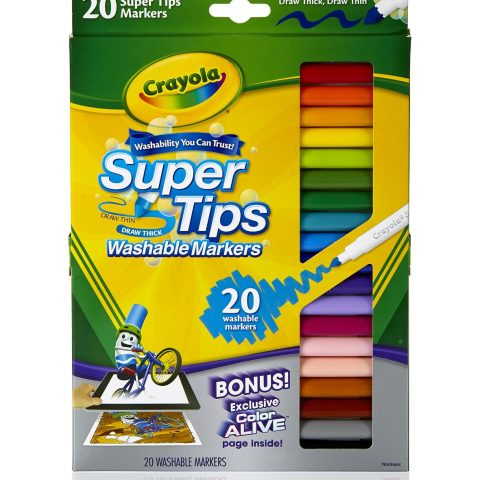 Set contains 20 different colors with 20 different scents for kids to enjoy while coloring Washable Super Tips Markers feature a versatile tip that draws both thick or thin lines Crayola's washable ink is specially formulated to easily wash from skin and most children's clothing Will not bleed through paper - 1