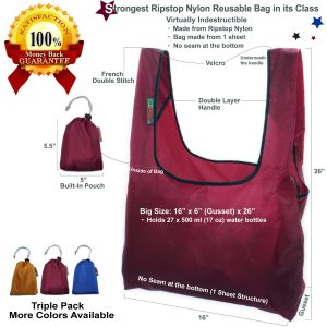 STRONG : Made from 100% Ripstop Nylon / Strongest bag in Its Class - Virtually indestructible CONVENIENT : Bag is Made from 1 Sheet with NO seam at bottom