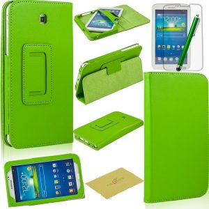 Fulland Magnetic Folio PU Leather Smart Stand Case Cover with Auto Sleep/Wake Function for Samsung Galaxy Tab3 7.0 P3200 plus bonus Stylus Pen and Screen Protector-Green
