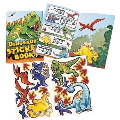 Fun Express 12 Dinosaur Sticker Book 6 inch mini books each has 10 pages and includes 24 stickers 12 books per order - 1