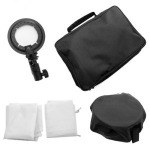 """Shoe Mount and Carry Case for Nikon Canon Speedlite EX430 EX580 SB600 SB800 or and Speedlite Flash Brand non OEM product Includes:One 24"""" x 24"""" speedlite softbox One L-shaped support bracket; one shoe mount Two white diffuser One carrying pouch - 1"""