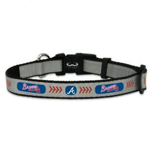 Distressed Packaging Officially licensed Major League Baseball dog collar Emblazoned with Atlanta Braves logo and colors Adjustable Made of high-quality