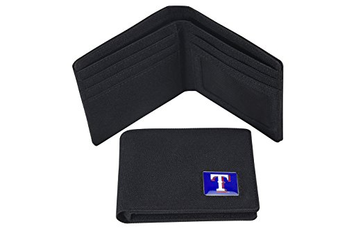 Distressed Package 100% Nylon Imported Made of nylon and features team logo metal emblem on front of wallet Four credit card slots