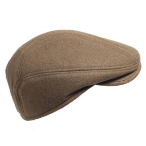 50% Viscose Brown Tan Retro Inspired Shape - 2in front brim with top snap Quilted hat for a cozy warm feel
