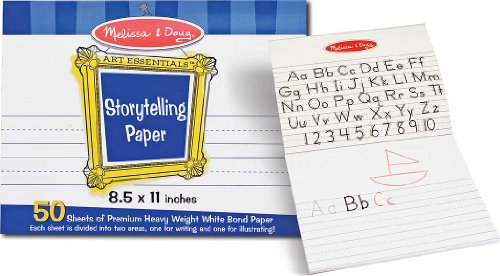 """Melissa Doug Storytelling 8.5""""x11"""" Paper Pad Made using the highest quality materials Tested to be safe and durable Great fun for your baby and child Top-bound pad of paper for writing and drawing stories Each sheet is divided into two areas: one for writing and one for drawing 50 sheets of premium heavy-weight bond paper Pages tear out cleanly for sharing or display Ideal for beginning writers - 2"""