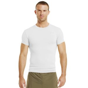 Men's Tactical HeatGear Shortsleeve Compression T-Shirt Tops by Under Armour 3XL White Ultra-tight