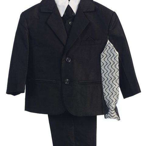 Two-button herringbone pattern solid colored suit includes: Jacket