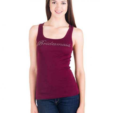 "Plum) ""Bridesmaid"" in Rhinestone Great Wedding Gift Longer Length Tank Sizing: Women's Please See Size Chart in More Photos Tank: Bella 8780 Long and Lean Cotton Spandex - 1"