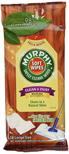 Large - 18 ea Multi-use wood cleaner; Solution contains 98% naturally derived ingredients Cleans to a natural shine Also fits any sweeper mop No chemicals or solvents harmful to wood surfaces; Does not contain oils