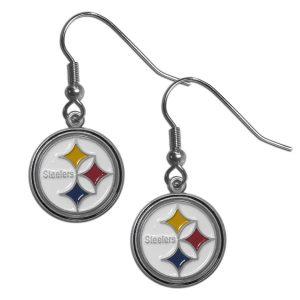 NFL Pittsburgh Steelers Dangle Earrings Hand Enameled Hypoallergenic Officially Licensed - 1