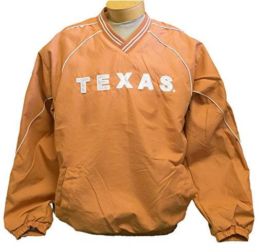 Texas Longhorns Pullover V-Neck Windshirt Jacket - Orange (Small) Two Front Pockets Quality Embroidery on Front and Back Zipper on Side to assist in On/Off - 1