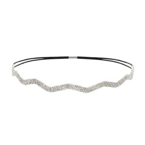 Crystal Rhinestone Headband Black Stretch Elastic for adjustable sizing