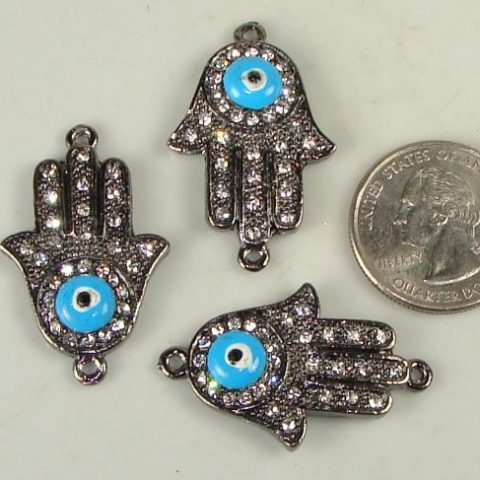 Rhinestone Sideways Pave Hand with Evil Eye Gunmetal with Crystal 3 Each Curved for Bracelets 28mmx35mm - 2
