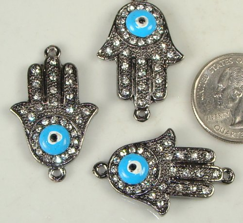 Rhinestone Sideways Pave Hand with Evil Eye Gunmetal with Crystal 3 Each Curved for Bracelets 28mmx35mm - 1