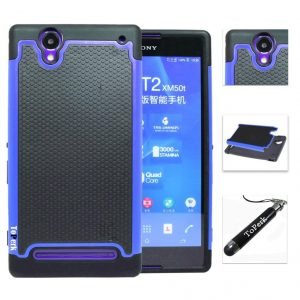 [ Sony Xperia T2 Ultra / D5303 ] ToPerk (TM) Cyber Grid Armor Case Stylus Pen As Bundle Sale - Blue Provides ultimate armored protection for your device with multi-layer protection. Offering a nice comfortable grip feel and never worry about your phone slipping out of your hand. Super easy to install/ uninstall with the quick snap on design. Protruding borders keeps screen elevated when device is placed with screen facing surface. ToPerk (TM) Logo Stylus pen included - 1