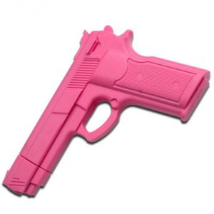 """Rubber Training Gun 7"""" Inches Overall Pink Painting Made From High Quality Hard Rubber Molded To Look And Feel Like The Real Item - 2"""