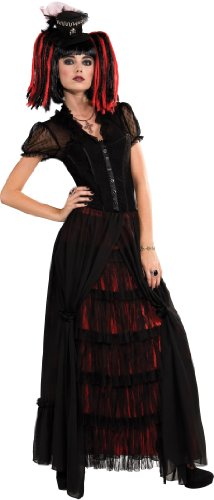 Medium - Dress Size: 10-14 100% Polyester Imported Hand Wash Long black and red skirt and mini-hat Blouse