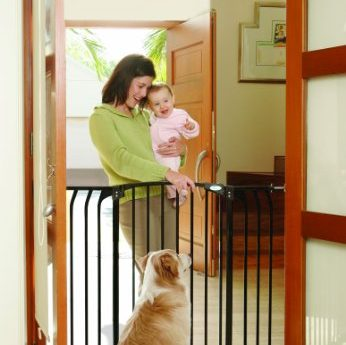 contents undamaged. Gate opens in both directions and swings closed automatically^Easy one handed operation for adults^Great for pets too^JPMA and ASTM Certified - 1