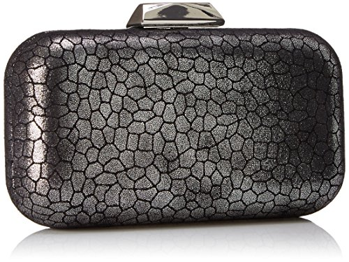 Polyurethane Imported Fabric lining Clasp closure Hard-case clutch in faux leather featuring metallic clasp and hideaway chain strap - 2
