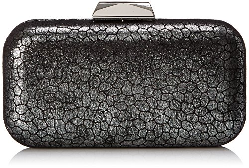 Polyurethane Imported Fabric lining Clasp closure Hard-case clutch in faux leather featuring metallic clasp and hideaway chain strap - 1