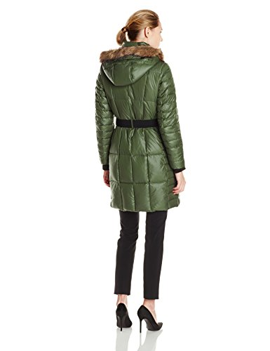 100% Polyester Imported Dry Clean Only Quilted down coat featuring wide belt and patch pockets at front Silver-tone zippers at placket and pockets Removable hood with faux-fur trim - 2