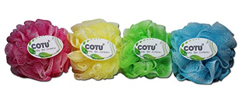 "Comes in 4 assorted colors mesh pouf sponge (Exfoliating Texture - 5"" in diameter - 50 gram) Great for exfoliating! Soft to the touch"