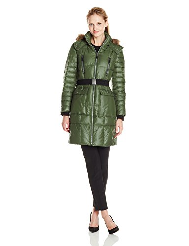 100% Polyester Imported Dry Clean Only Quilted down coat featuring wide belt and patch pockets at front Silver-tone zippers at placket and pockets Removable hood with faux-fur trim - 1