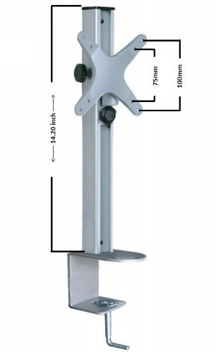Fits 13 to 24 inch Flat Panel Tvs Vesa 75mm and 100mm mounting pattern Adjustable height up to 14 inch Tilting capable up to -/+ 15 degrees angle Desktop Mount Swiveling capable for better viewing angle - 2