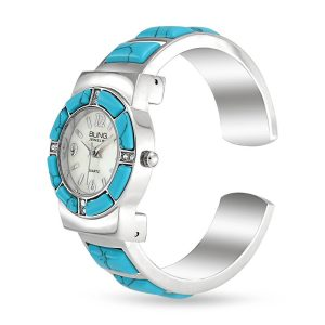 Bling Jewelry Womens Crystal Accent Simulated Turquoise Cuff Stainless Steel Back Watch Simulated Turquoise Cuff Bangle Watch Stainless Steel