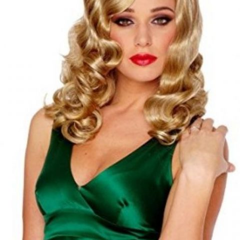 100% Other Fibers Imported Hand Wash Long women's wig with large finger waves Retro glamour's style wig - 2