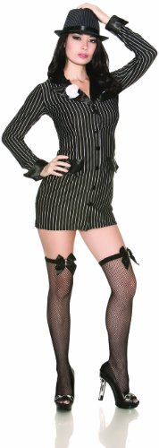 100% Polyester Hand Wash Allie Capone costume is a slimming black pinstripe dress cut to look like a high class jacket Costume includes jacket dress and thigh highs with mini bullet accent Note: costume sizing is different than apparel sizing