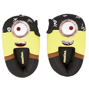 Size - Youth - 11-12 M US Cotton Google-eyed effect Pirate slipper Minion Brushed tricot upper with pvc accents - 1